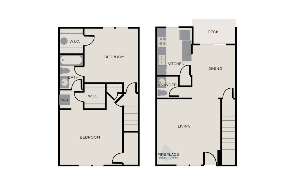 Collins - 2 bedroom floorplan layout with 1.5 bath and 1150 square feet.
