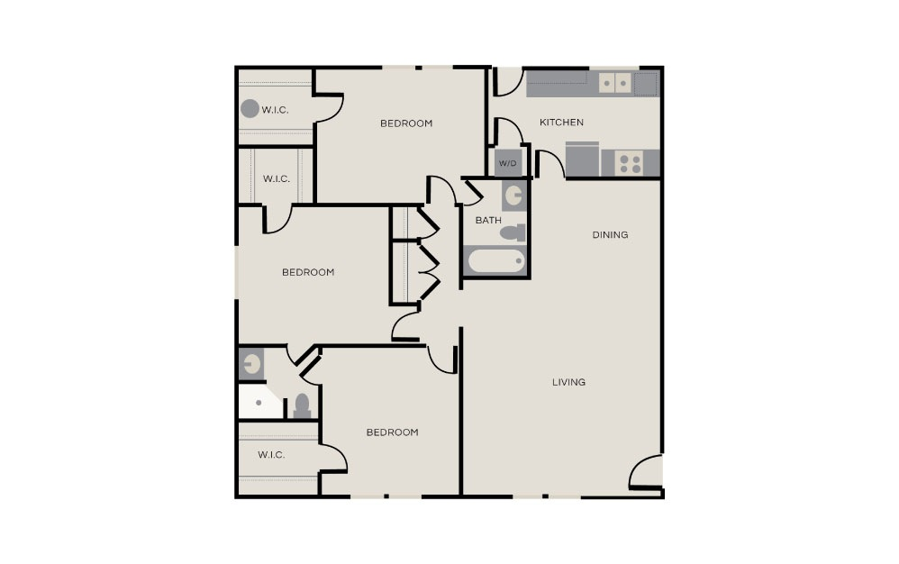 Hunter - 3 bedroom floorplan layout with 2 baths and 1300 square feet.